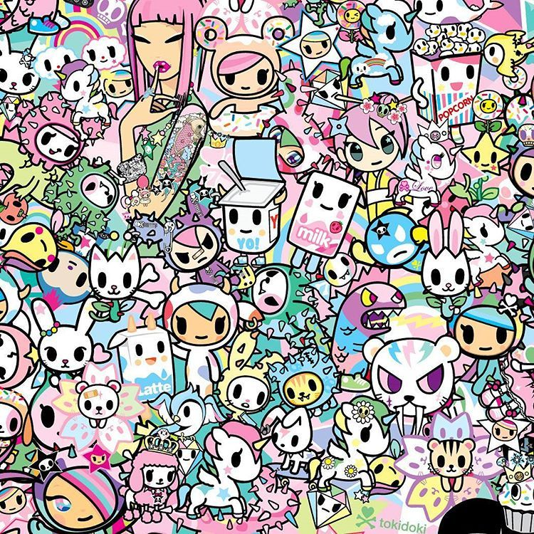 Tokidokibrand On Instagram Here S A Detail Of The Kawaii Pattern Used On The New Spring Dreams Bag Colle Tokidoki Characters Tokidoki Hello Kitty Wallpaper