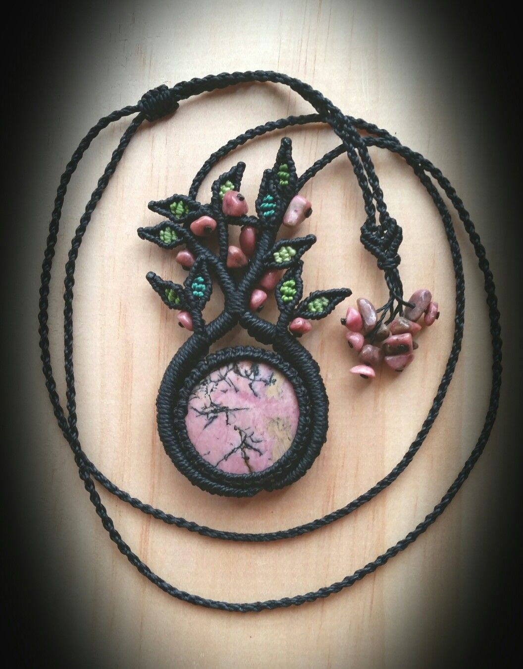 Tree Of Life Necklace With Rhodonite Pendant & Rhodonite