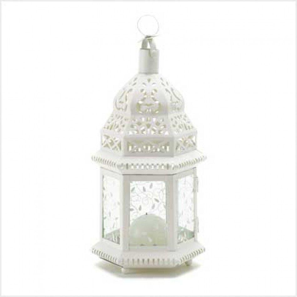 Mid White Moroccan Lantern [38465 Moroccan Candle Lantern ...