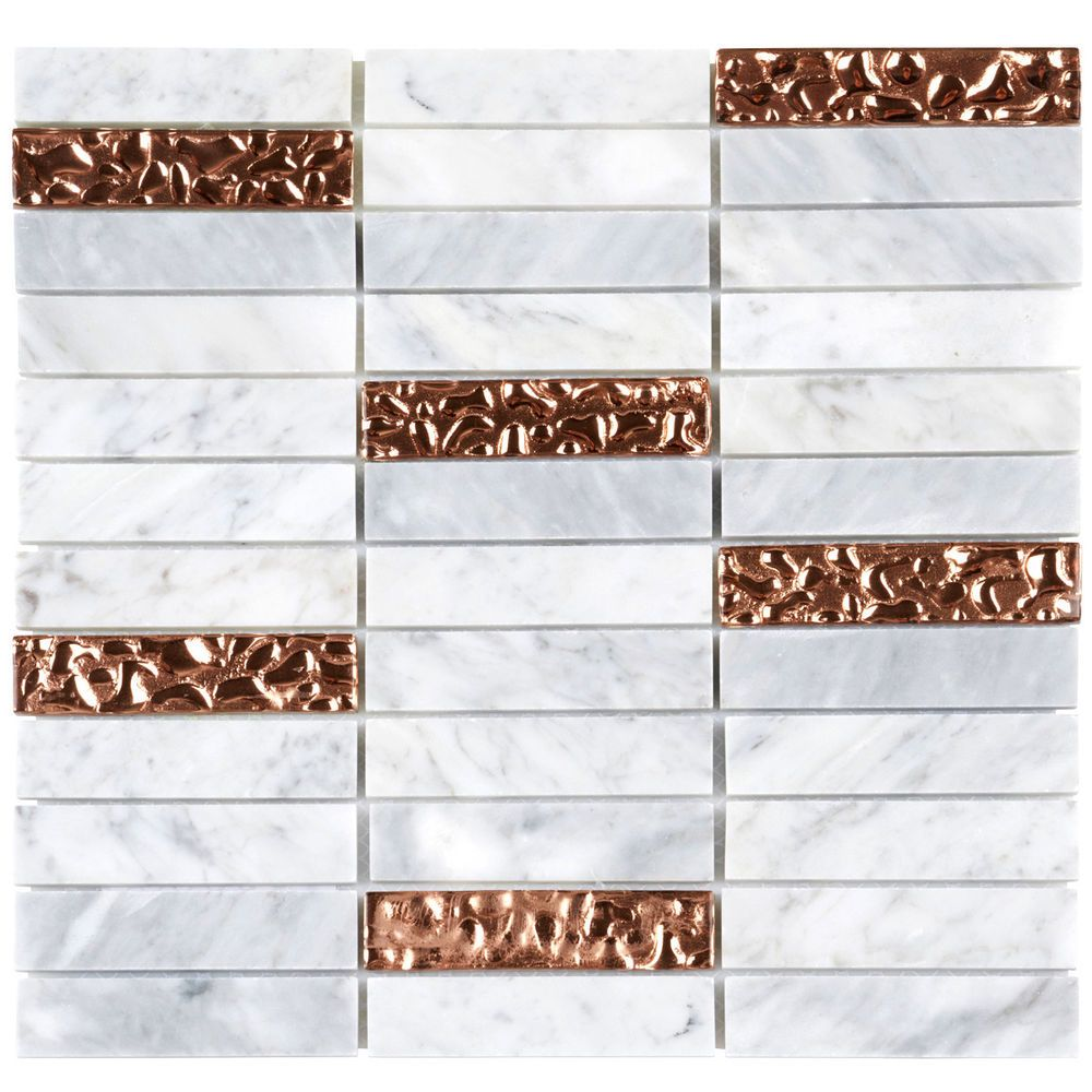 - Details About White Carrara Marble Stone Rose Gold Glass Mosaic