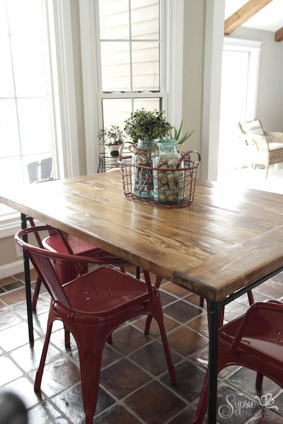 ikea industrial farmhouse table hack, diy, how to, painted furniture ...
