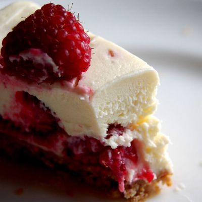 The only recipe you'll ever need again as long as you live (not very long, probably, if this is all you eat) - the most fantastic white chocolate and raspberry cheesecake.