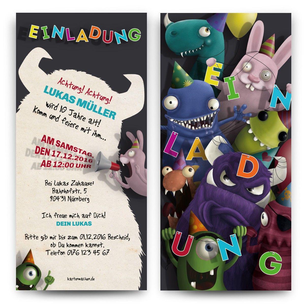 Einladung Zum Geburtstag Für Kinder   Monster Party