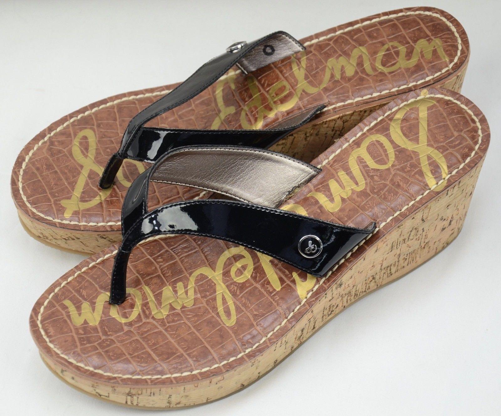 e930b87d7 New Sam Edelman Romy Black Flip Flop Wedge Sandals sz 8.5 NWOT ...