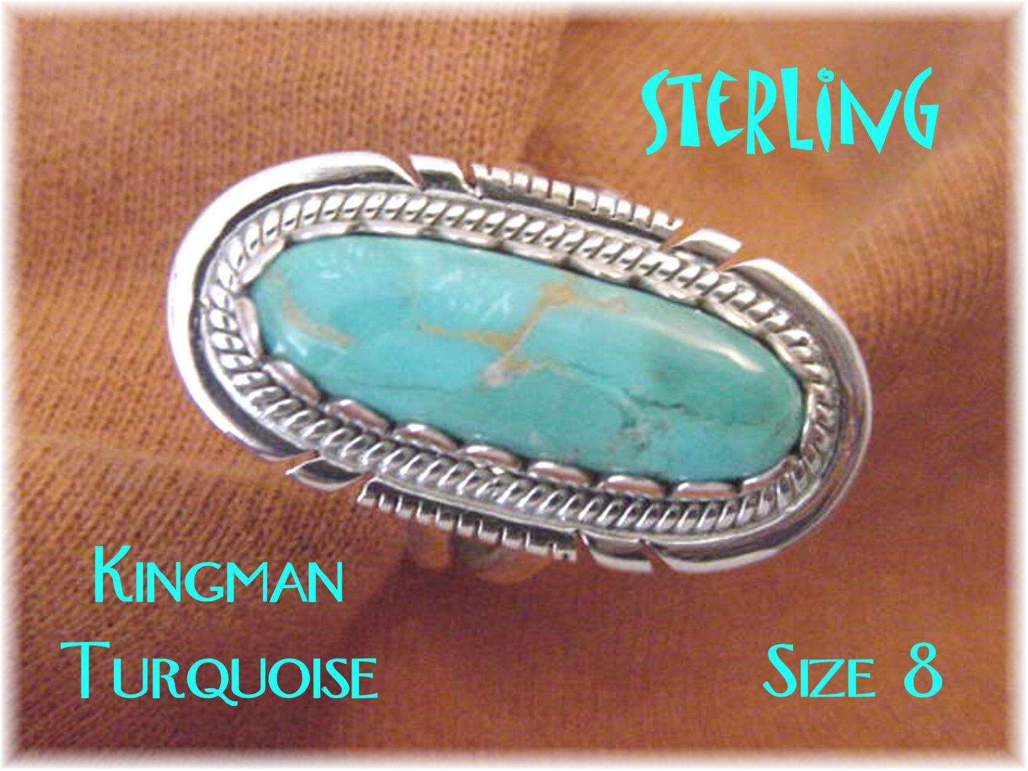 Kingman Turquoise - Sterling Silver Native American Indian Ring - Size 8 - Arizona Estate - New Old Stock NOS - Gift Box - FREE SHIPPING