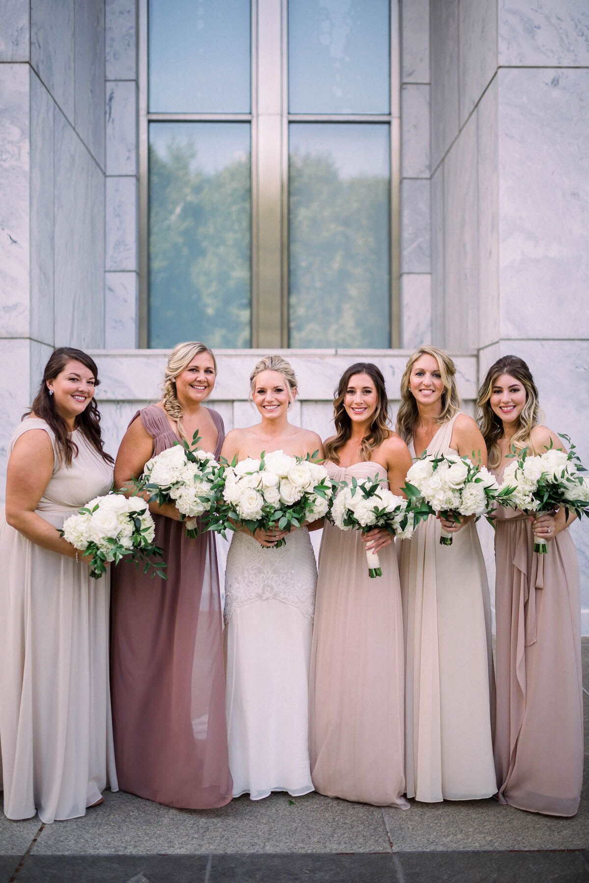 Shades Of Mauve Bridesmaid Dresses White Bridal Party Florals At The Peachtree Club In Atlan Mauve Bridesmaid Dress Mauve Bridesmaid Ombre Bridesmaid Dresses [ 1800 x 1200 Pixel ]