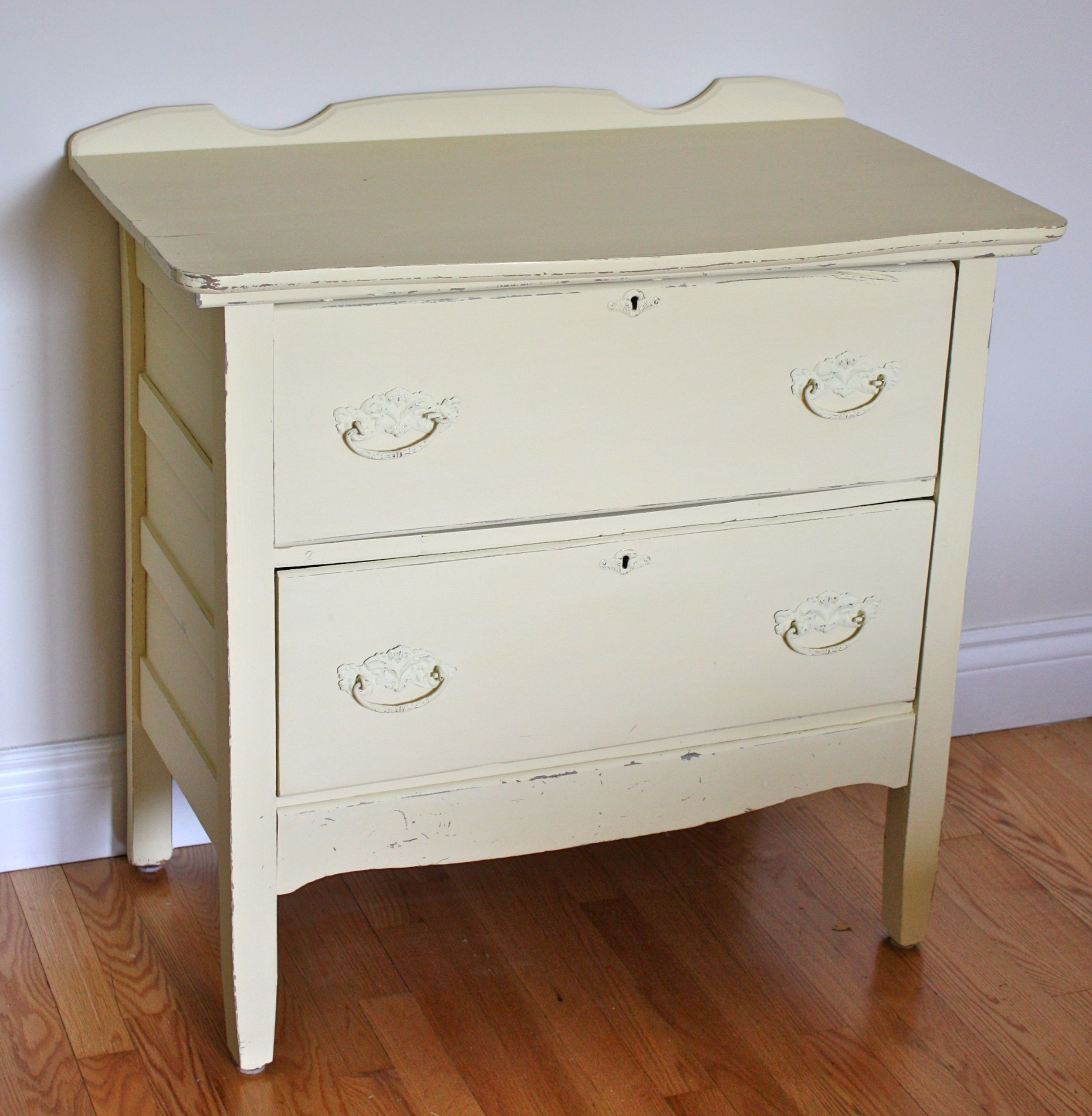 """Antique Night Table painted in Annie Sloan """" Cream """" Chalk ..."""