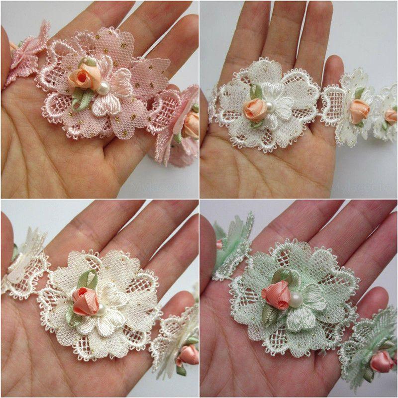 1yd Flower Diamond Lace Edge Trim Wedding Dress Ribbon Applique DIY Sewing Craft