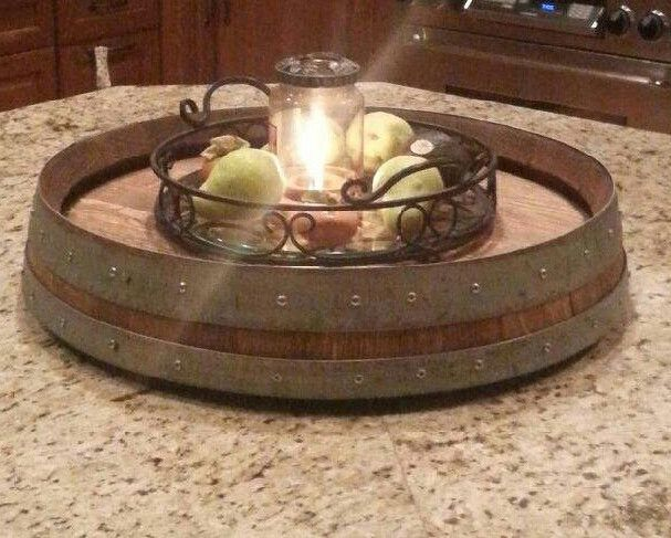 our lazy susan is made from the top four inches of a reclaimed napa valley wine