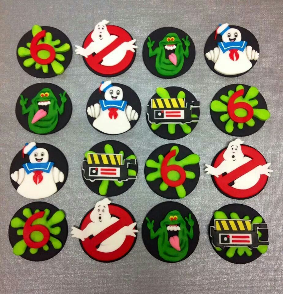 Cake decor Ghostbusters Cupcake Toppers party supplies SET OF 12
