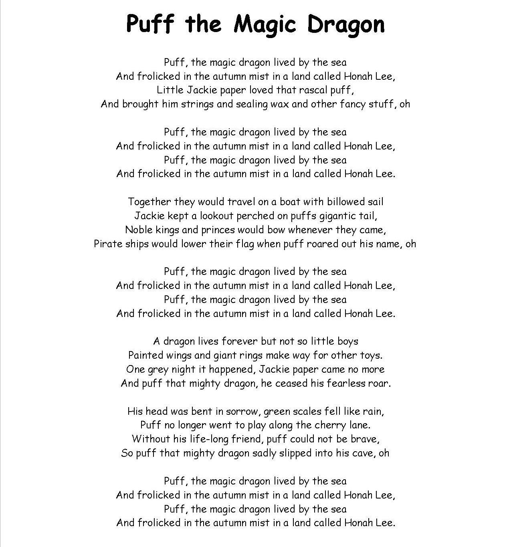 Puff The Magic Dragon Children Songs Lyrics Nursery Songs Childrens Songs