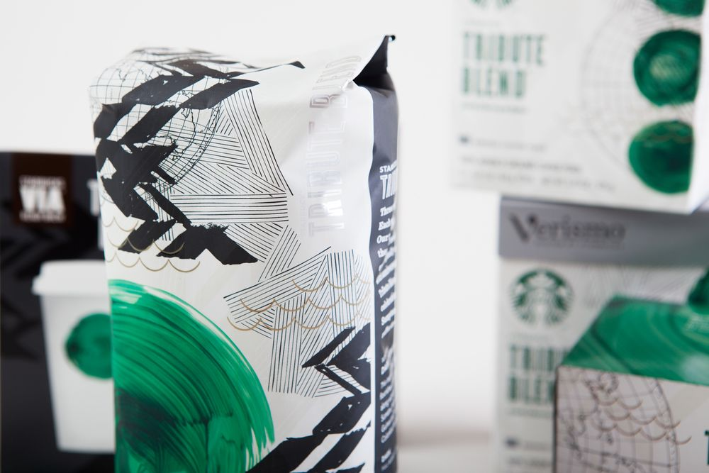 Great new packaging from Starbucks. Love the strength of the brand that allows the logo to replaced here with a brush stroke dot.