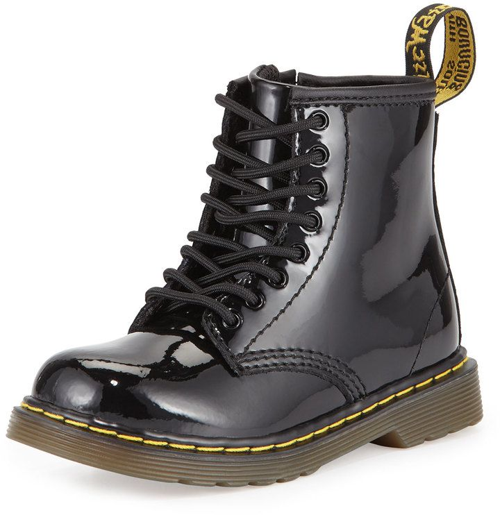 Dr. Martens Brooklee Patent Leather Military Boot, Black, Toddler
