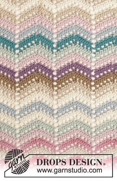 "Crochet DROPS blanket with zig-zag pattern in ""Cotton Light ..."