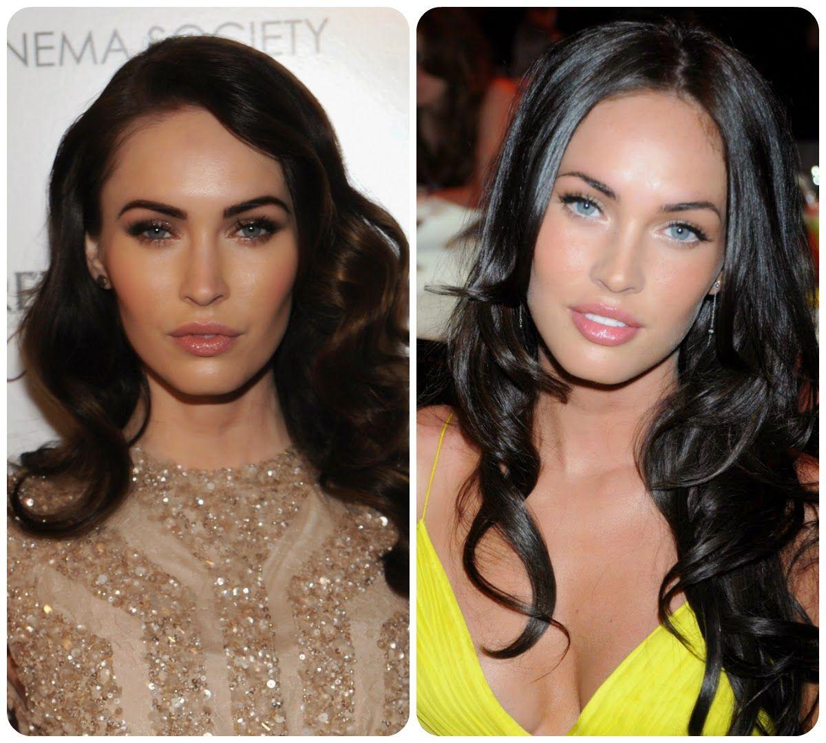 Tvár Megan Fox (kontrastný zimný typ)sa v tlmenej farbe a málo kontrastnom líčení stráca a žiarivá farba očí zaniká. V žiarivej žltej jej výrazné oči viac vyniknú.