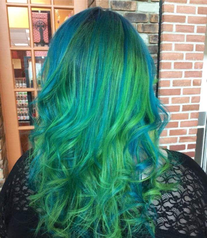 Pravana Neon Blue And Green Green Hair Green Hair Colors Blue