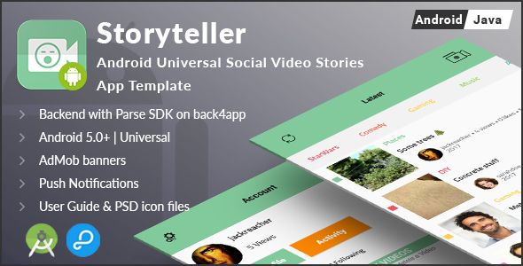 Storyteller | Android Universal Video Sharing App Template | Code ...