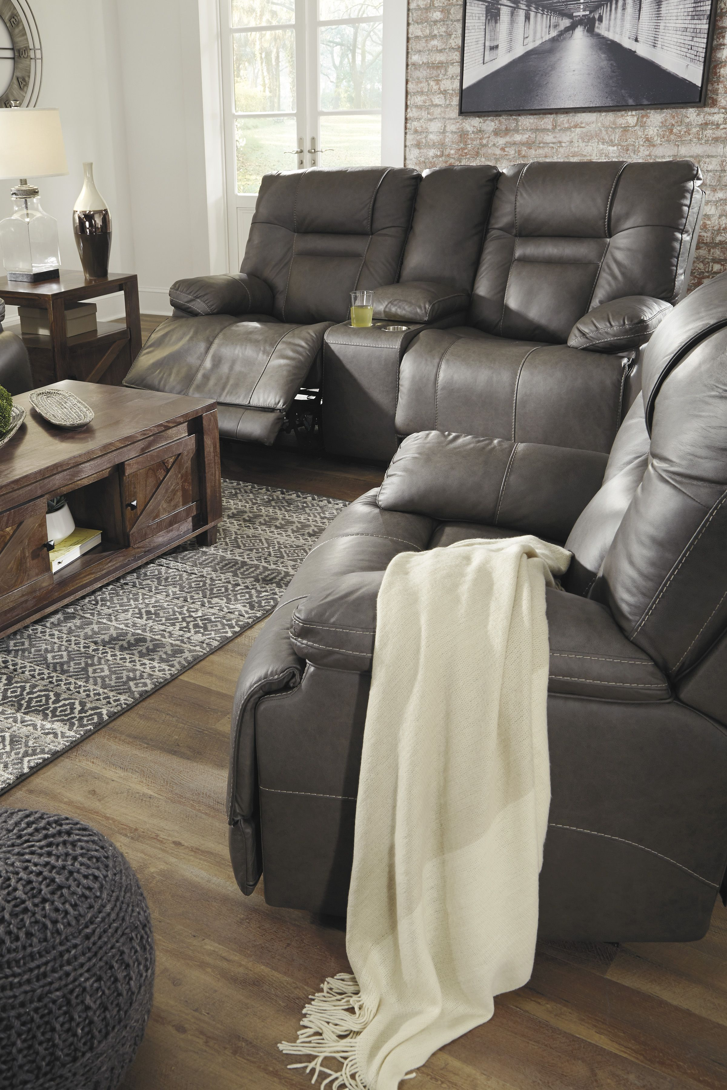Ashley Wurstrow Gray Power Recline Leather Sofa Homemakers