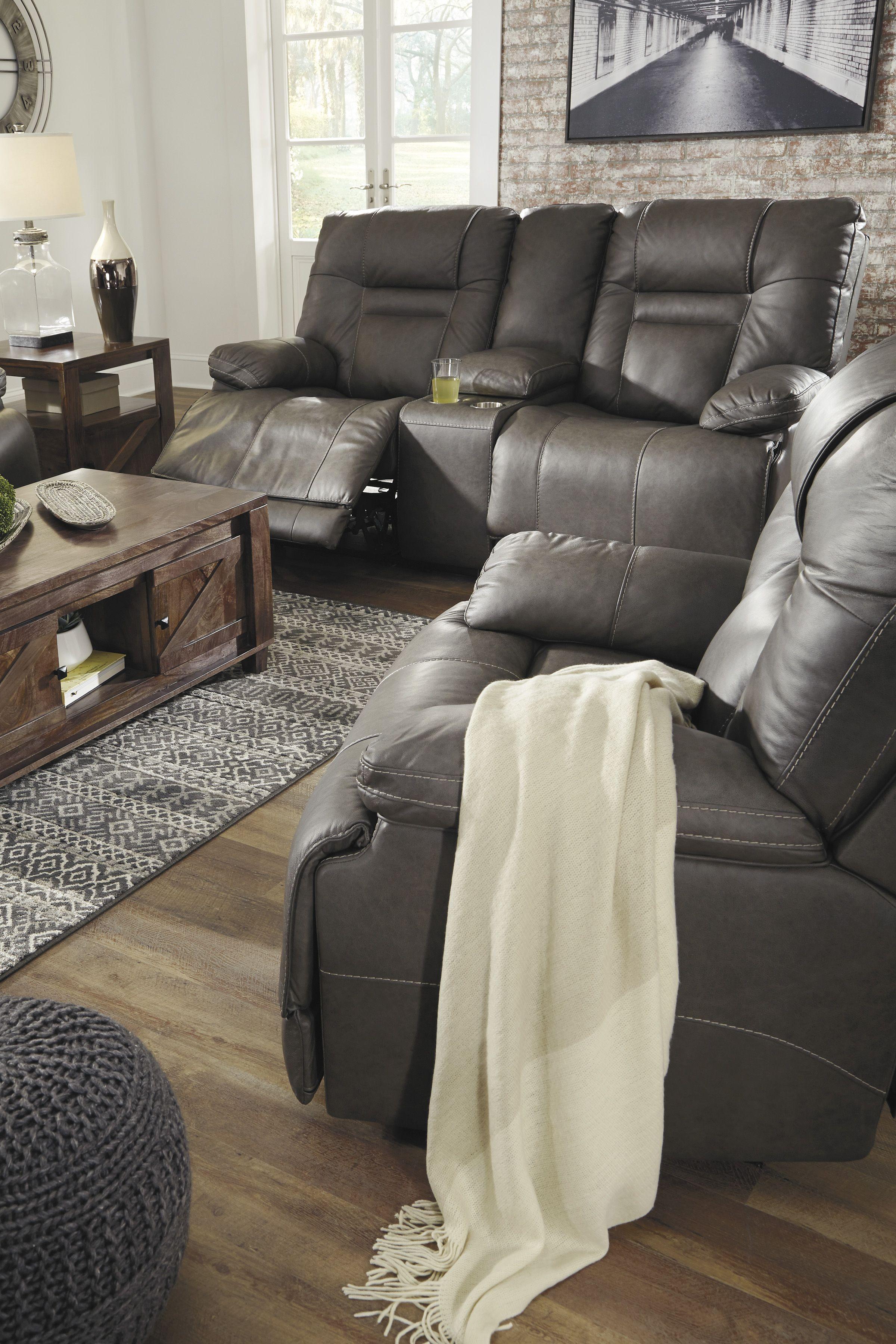 Ashley Wurstrow Gray Power Recline Leather Sofa Homemakers
