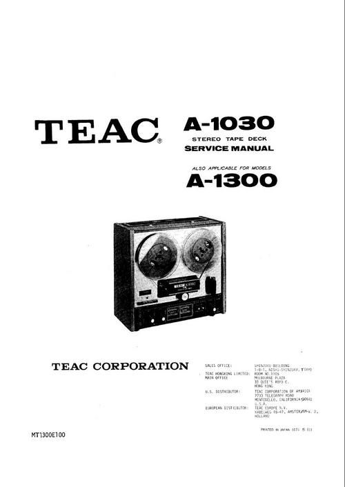 Teac A-1030 & A-1300 reel tape recorder Service Manual