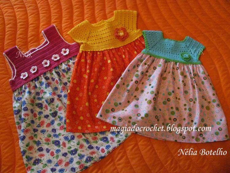 Magia do Crochet: Crochet e costura, uma combinação alegre e fresca para as meninas