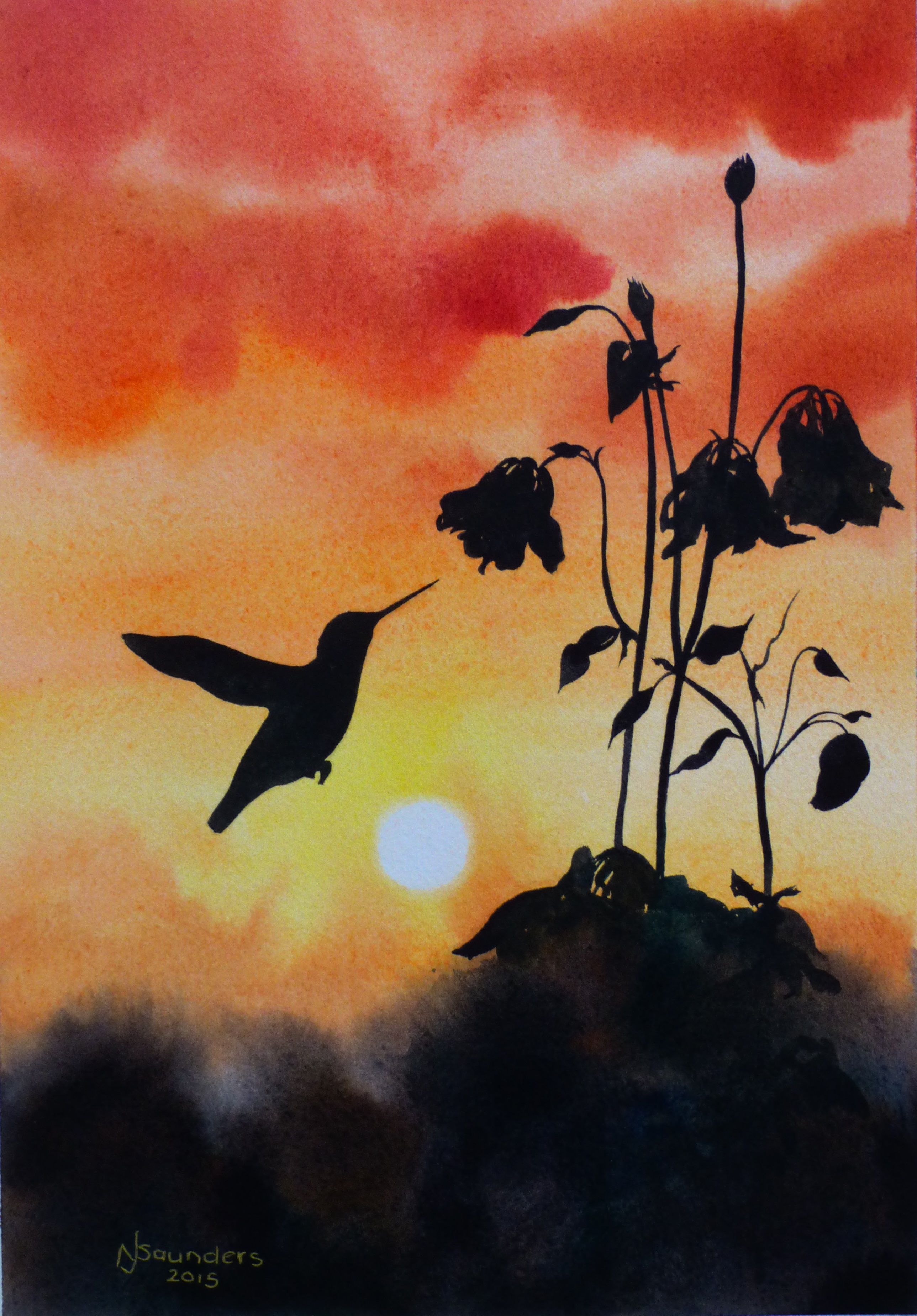 Hummingbird In Silhouette Watercolour Painting By Nicki Saunders