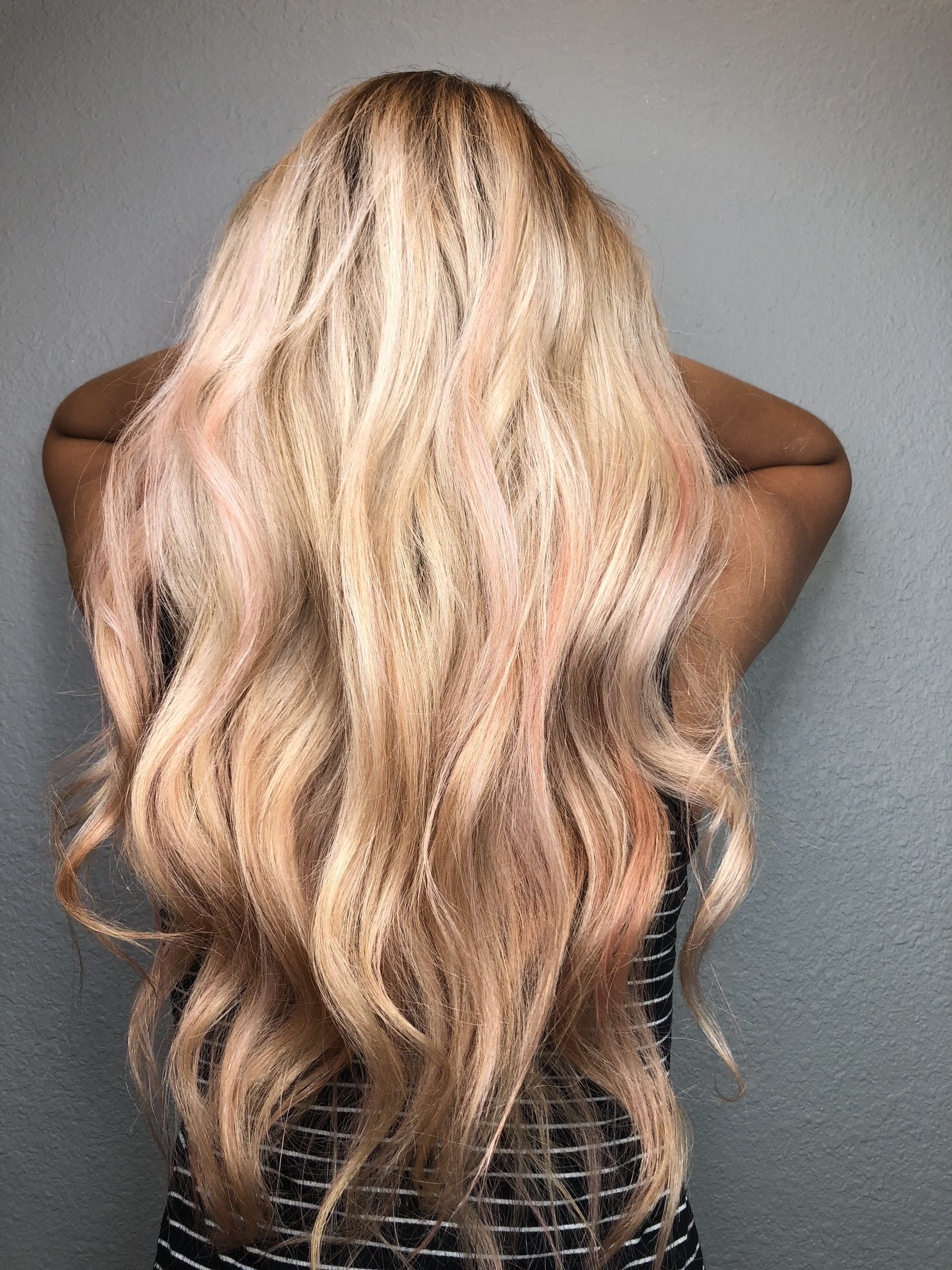 Blond Balayage With Rose Gold Highlights Blonde Long Balayage Summerhair Rosegold Hair Color Pastel Hair Gold Hair