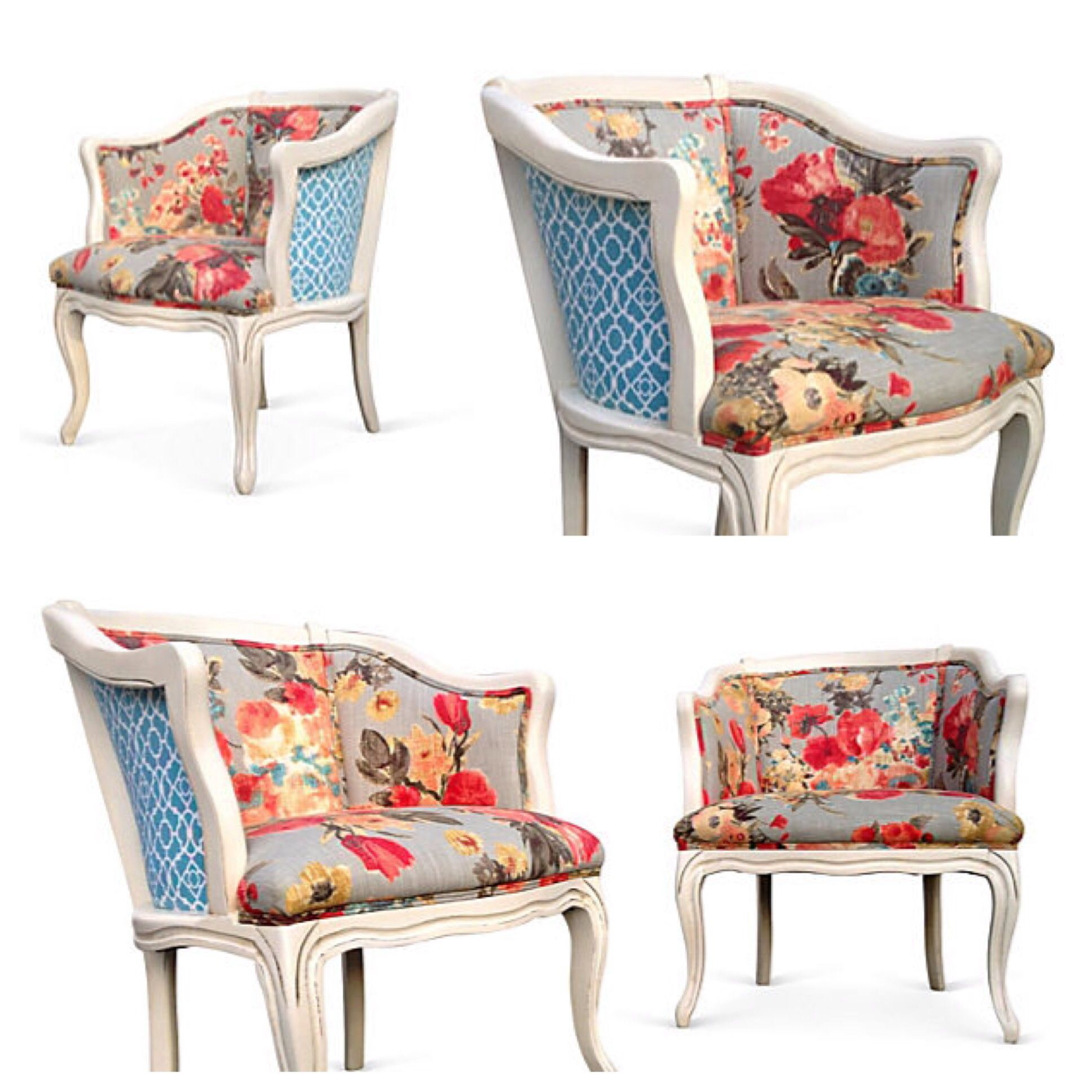 Vintage French Style Barrel Back Lounge Chairs. Grey Pink Coral Blue Floral  Flower Upholstery Fabric