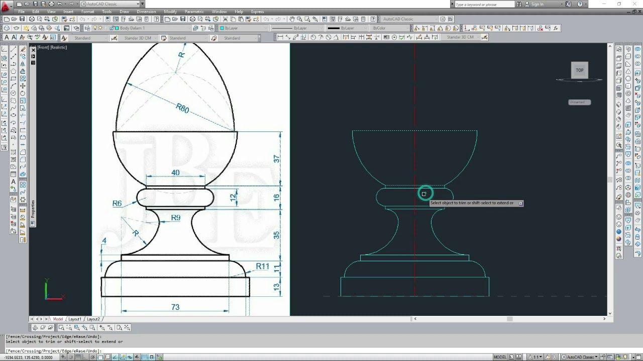 Tutorial autoCAD 2D dan 3D Revolve III | Cara menggambar ...