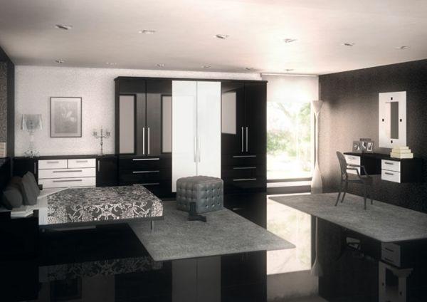 schlafzimmer einrichtungsideen schwarz weiß teppich grau | wohnen, Design ideen