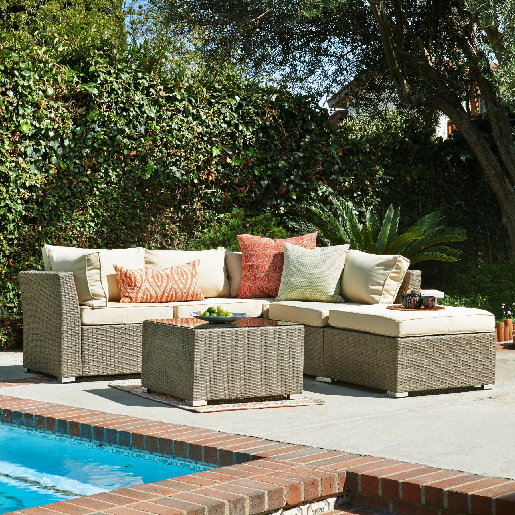 Coral Coast Jicaro 5 Piece Outdoor Wicker Sectional Sofa Set