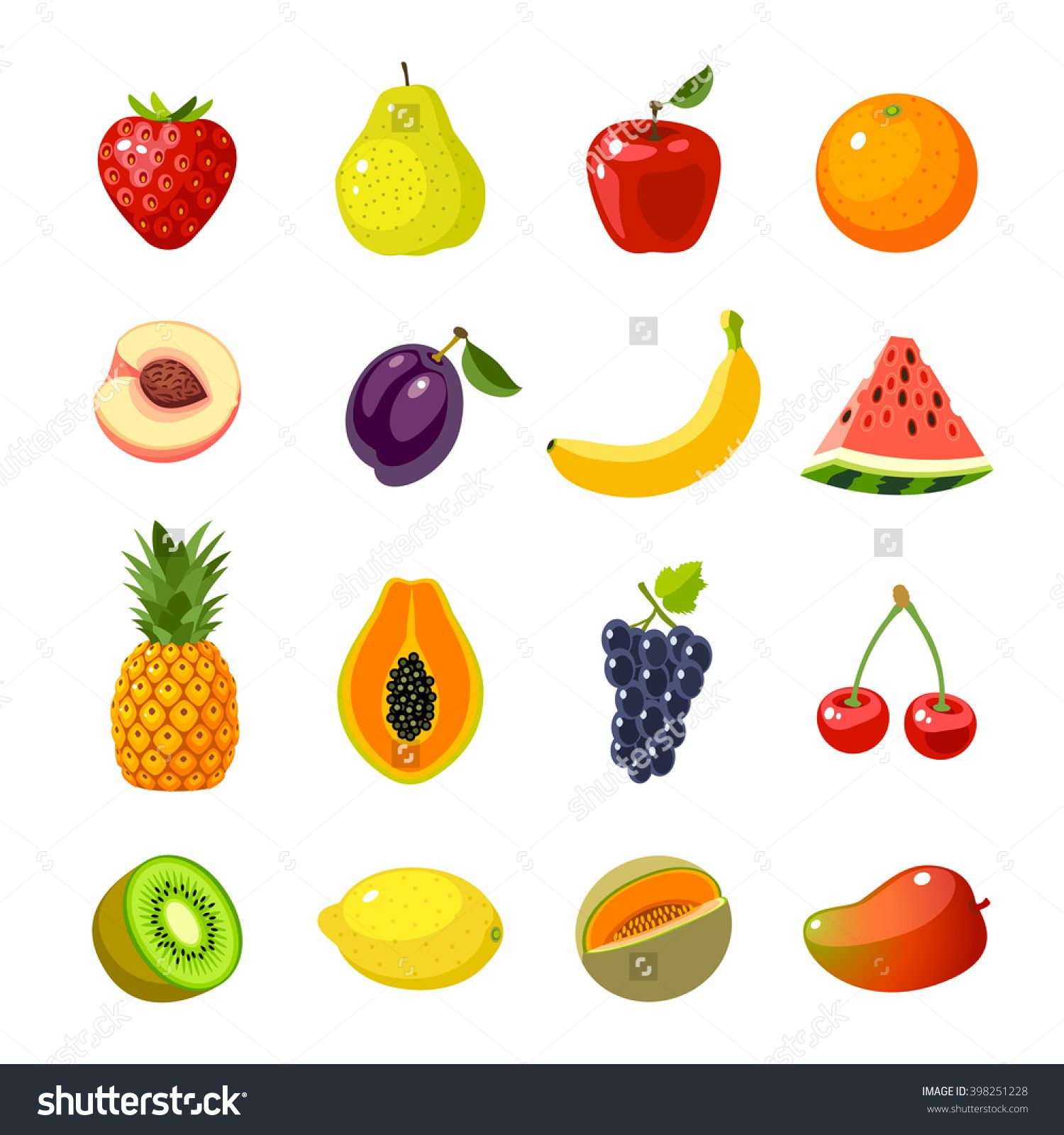 Set of colorful cartoon fruit icons apple, pear