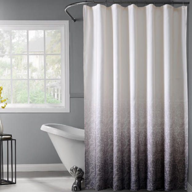Dainty Home Lace Ombre Shower Curtain Color Black Lace Shower