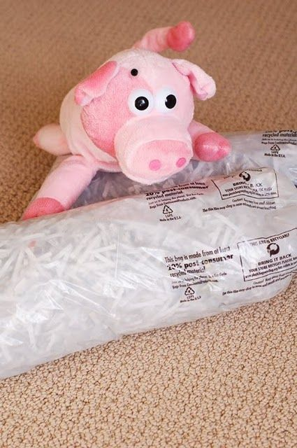 For mailing packages, stuff newspaper plastic bags with shredded paper (not sensitive documents!) or Styrofoam peanuts.  The packed items stays safe but without the mess when the recipient opens it up.