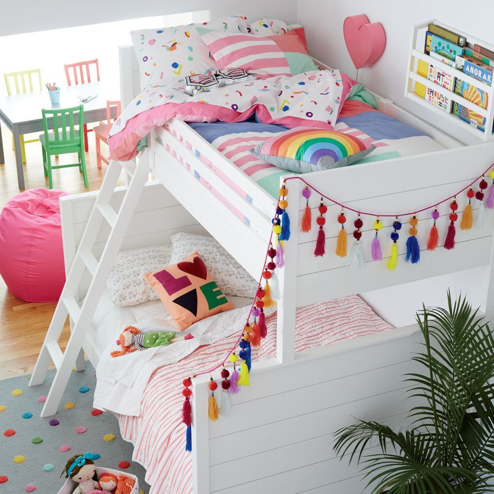 Best Uptown Twin Over Full Bunk Bed White The Land Of Nod 400 x 300