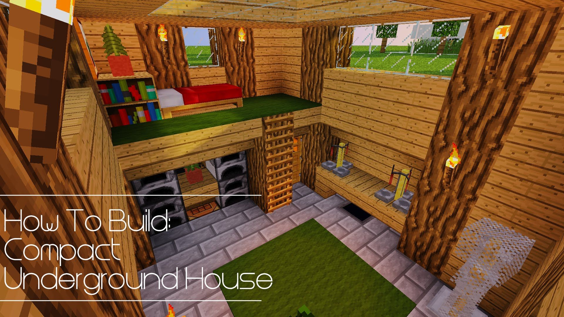 How To Build Compact Underground House Minecraft Underground Cool Minecraft Houses Minecraft Interior Design