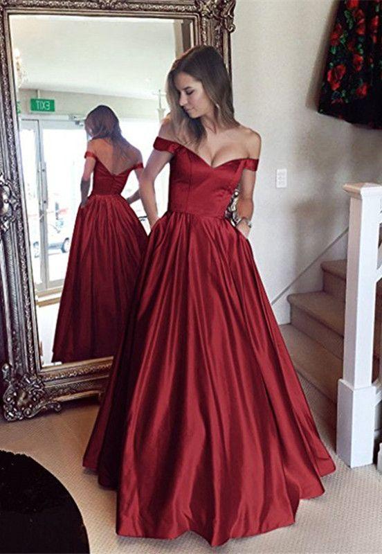 20ea97e0224 Simple V-neck Off Shoulder Long Satin Prom Dresses 2018 Women s Evening  Gowns  Eleganteveningdress