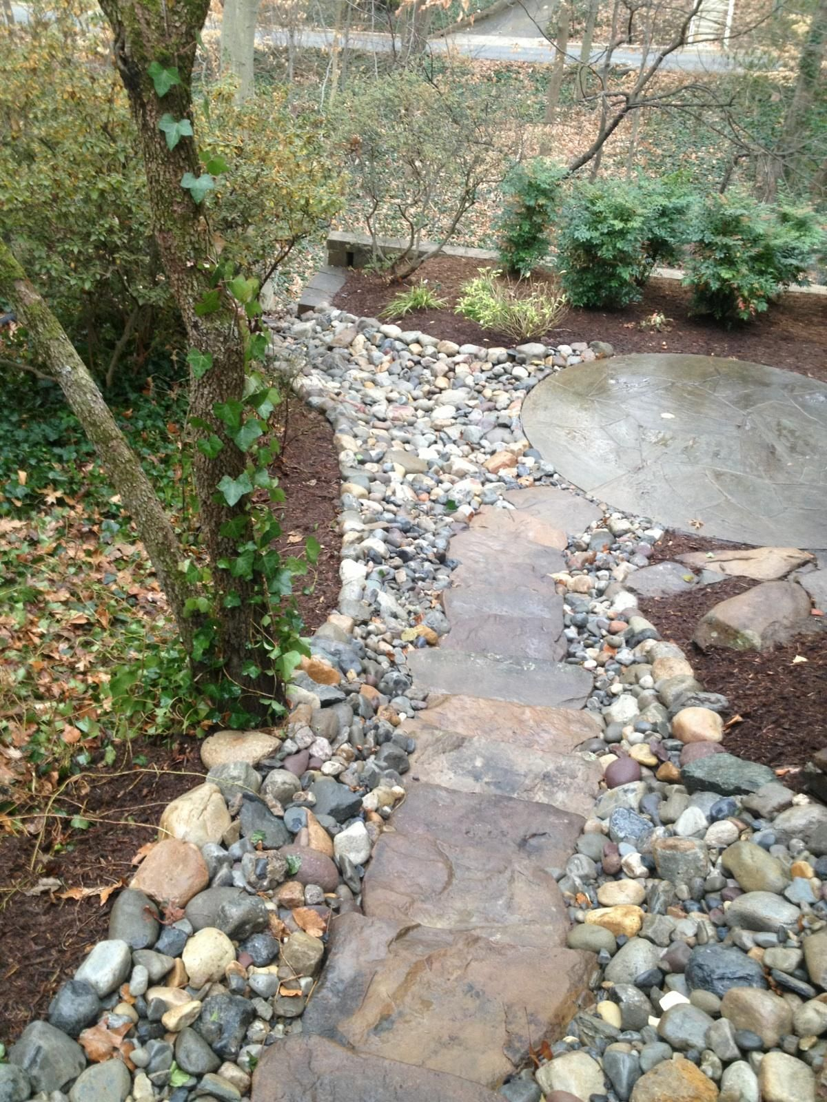 add elegance to your yard with a stone walkway leading to your