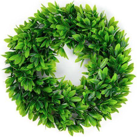 Photo of Coolmade Artificial Green Leaves Wreath – 17″ Schefflera Leaves Green Wreath for Front Door Wall Window Party Décor, Indoor/Outdoor Use – Walmart.com