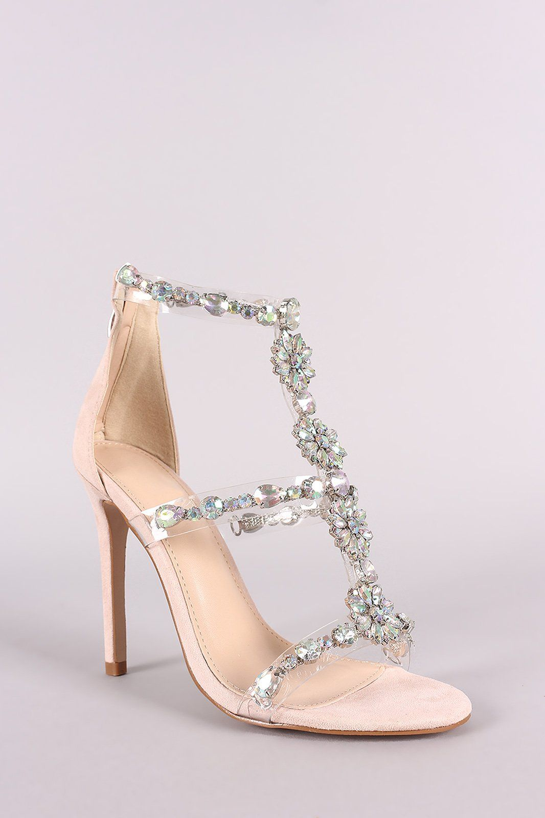 684132ec061 Qupid Clear Jewel Embellished T-Strap Stiletto Heel