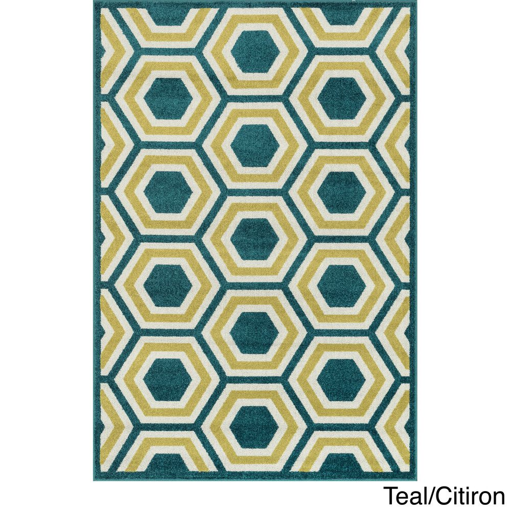 Indoor/ Outdoor Palm Geo Rug (9'2 x 12'1) | Overstock™ Shopping - Top Rated Alexander Home Oversized Rugs