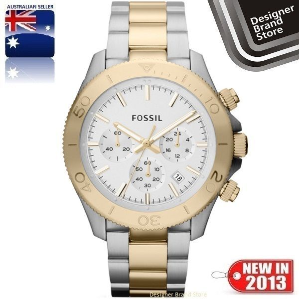 details about new fossil mens watch grant silver rose gold tone new fossil mens watch retro traveler silver gold 2 tone s steel chrono ch2850