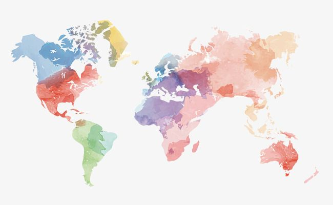 Vector Creativo Acuarela Mapa Del Mundo Material, Mapa