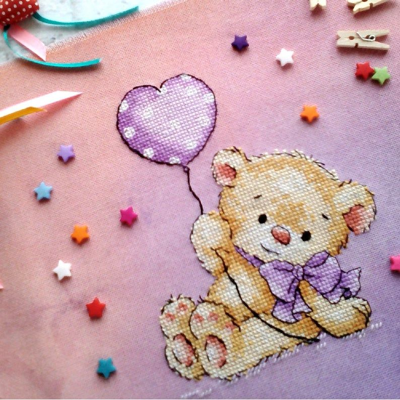 Cross Stitch pattern PDF With all my heart Bear Plush Toy