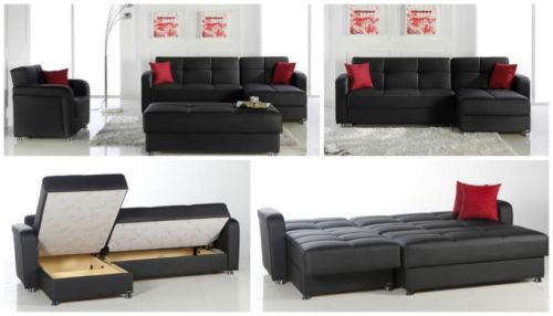 Apartment Size Sectional Sofa Beds With Storage Black Eco Leather