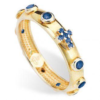 127e85760d1 Anillo rosario AMEN plata 925 dorado circones azules en 2019 ...