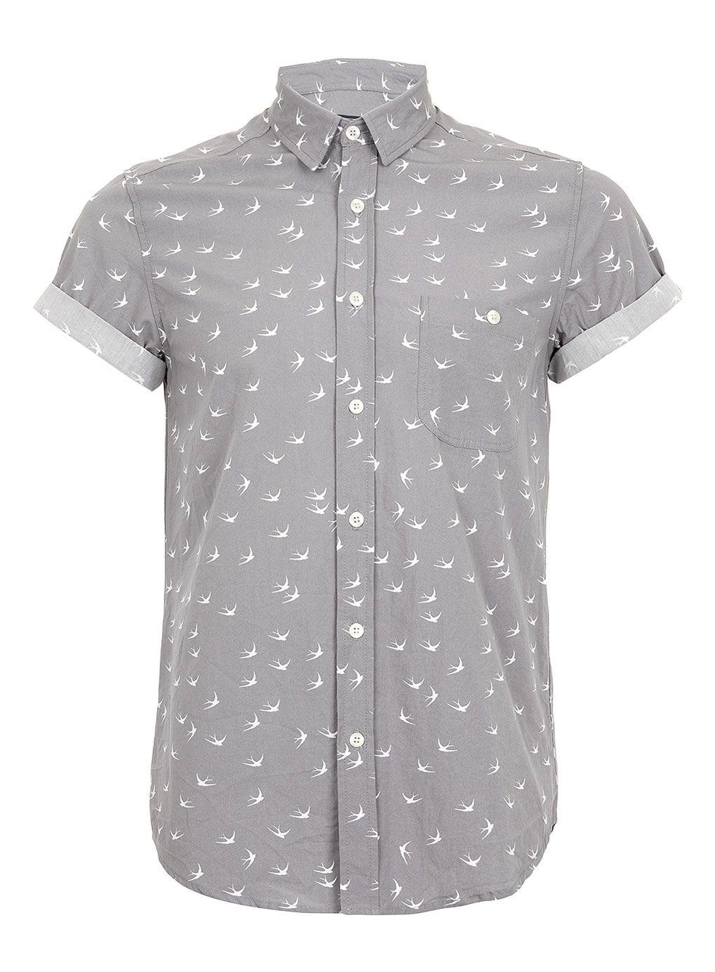 27063120 Grey Swallows Print Short Sleeve Shirt, TopMan | Wear it! | Shirts ...