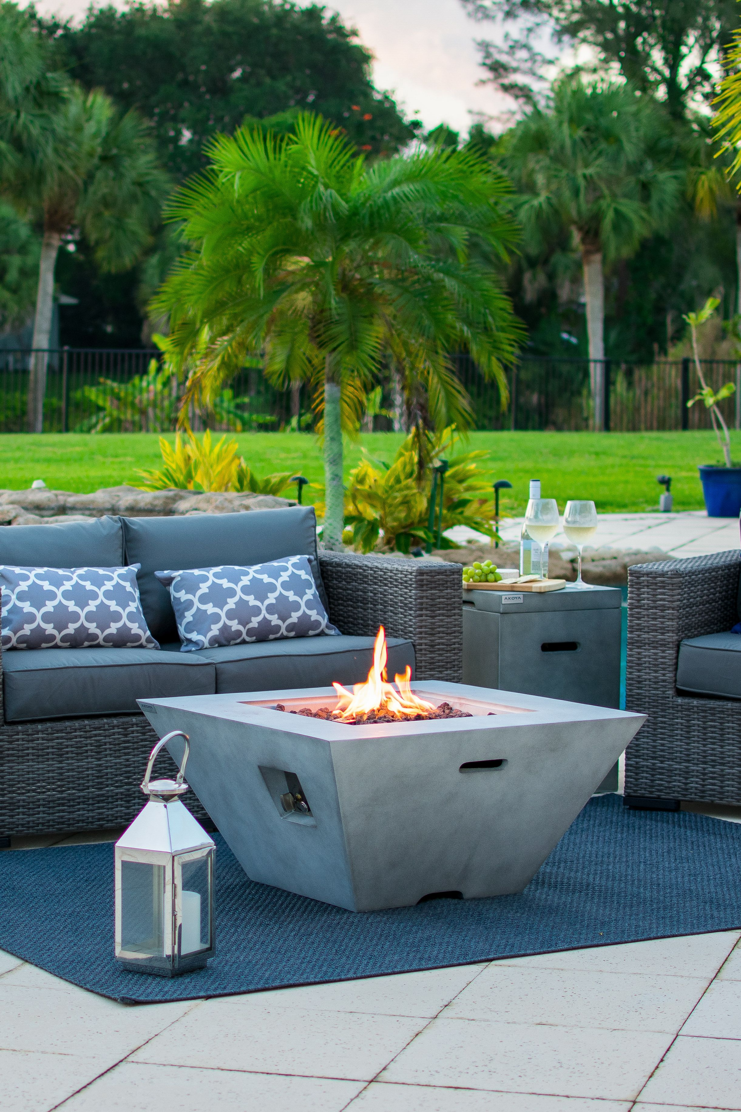 34 outdoor propane gas fire pit table square bowl in gray