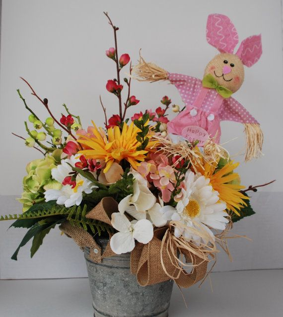 Spring Silk Fl Arrangement In Tin Bucket Summer Flowers Easter It S A Baby