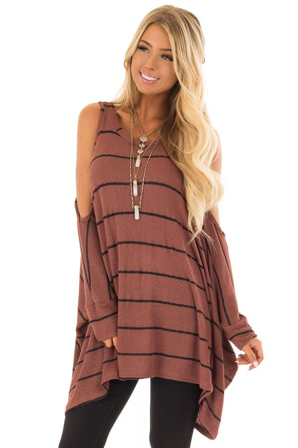 dbf779720eaa1 Rust Striped Cold Shoulder Knit Top with 3 4 Length Sleeves ...